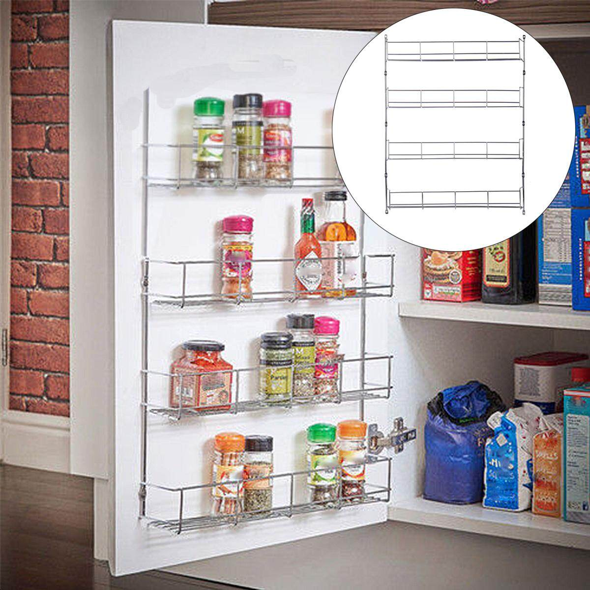 4 Tiers Kitchen E Rack Cabinet Organizer Wall Mount Storage Shelf Pantry Intl By Elec