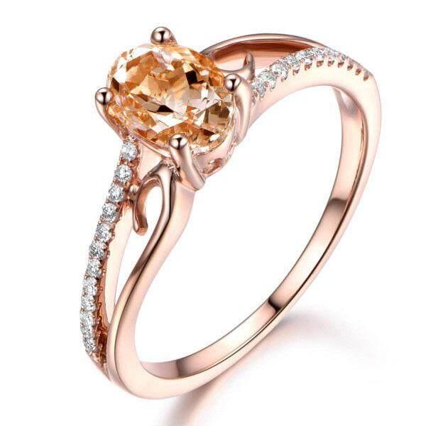 Putri Bulat Cincin Berlian Imitasi 14 K Mawar Emas Gaya Yg Tdk Kunjung Surut Bunga Mewah Pertunangan Cincin Pesta Ukuran 6-10