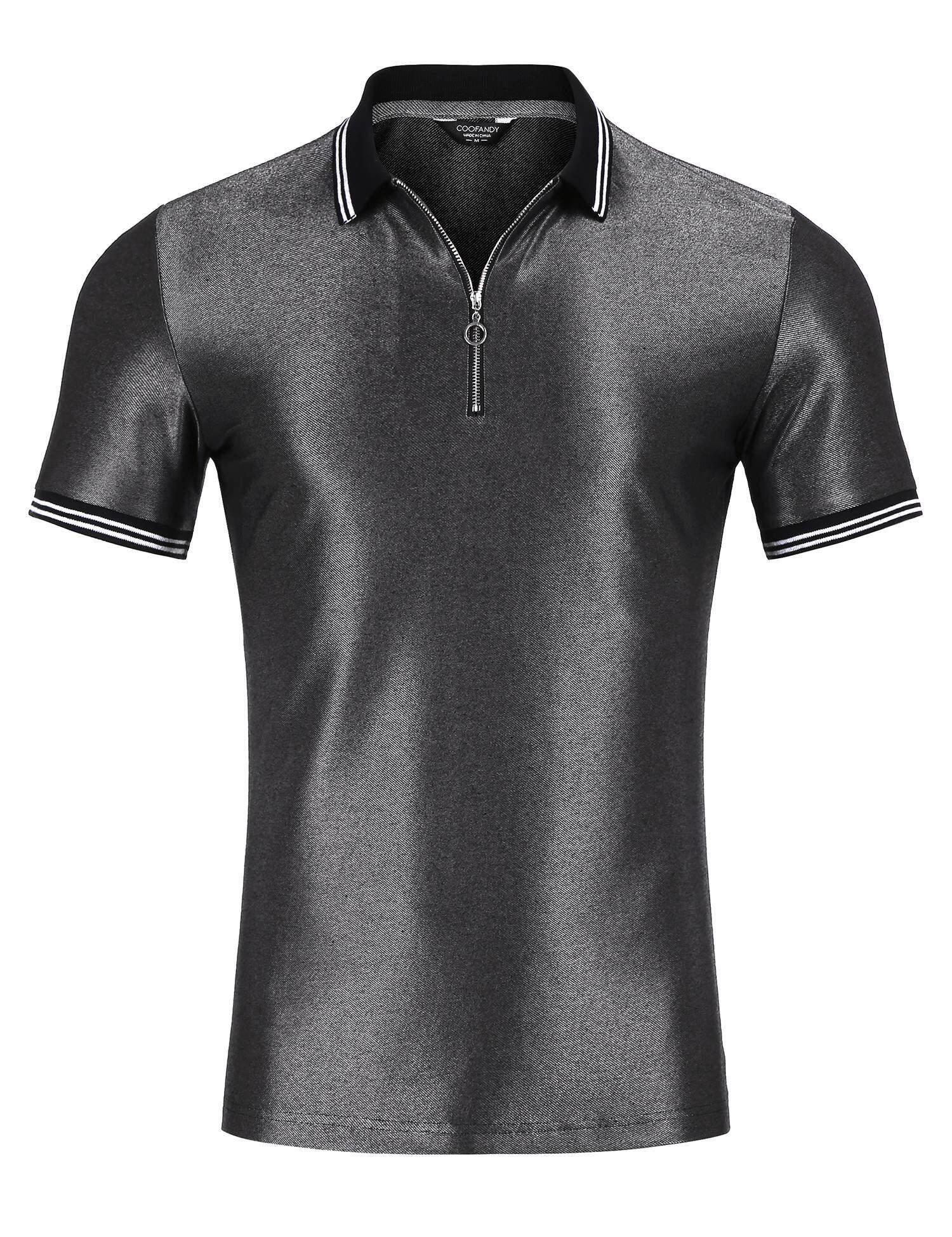 SuperCart Men Turn-down Collar Short Sleeve Zipper Summer Patchwork Polo Shirt - intl