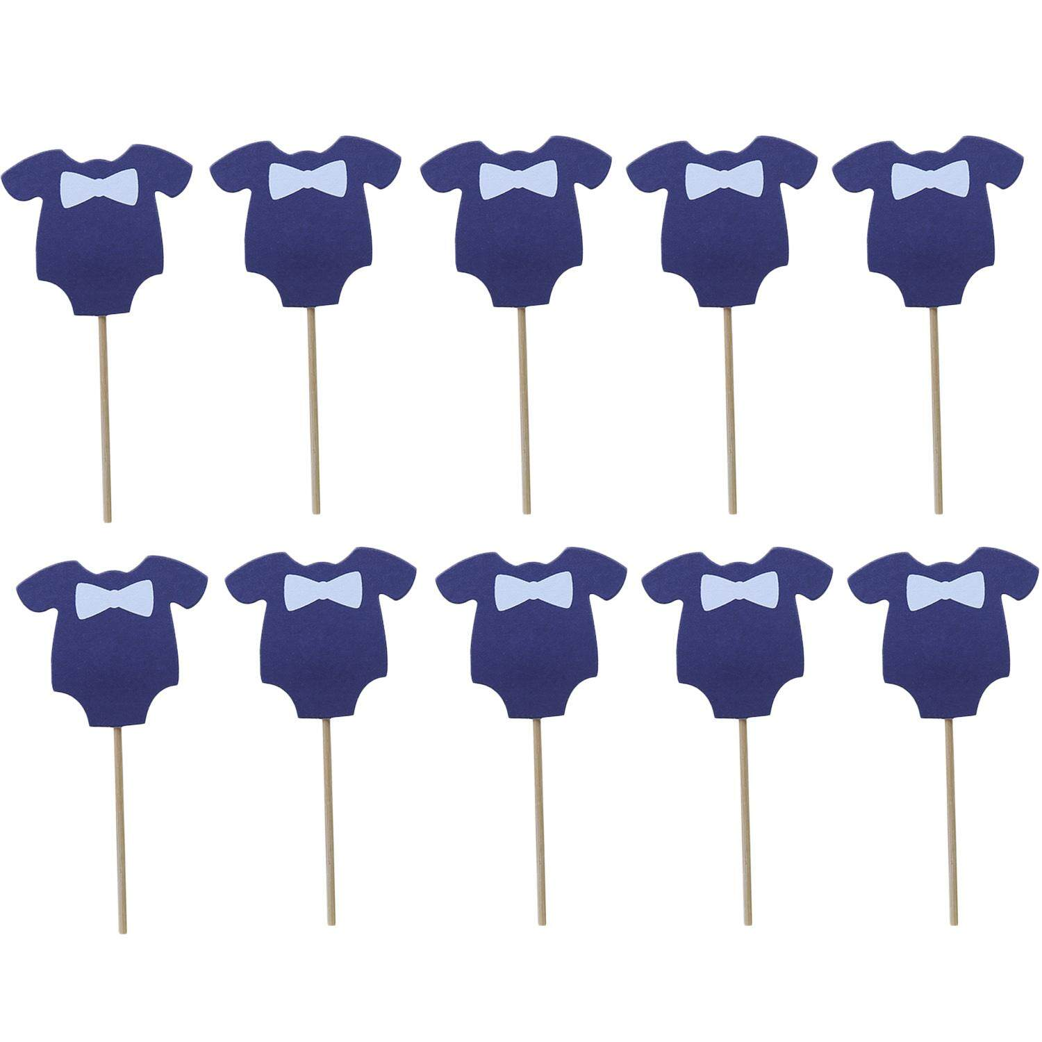 10pcs Lovely Clothes Shape Cake Picks Cupcake Toppers For Birthday Baby Shower Wedding Party Decor Supplies (blue/pink) - Intl By Stoneky.