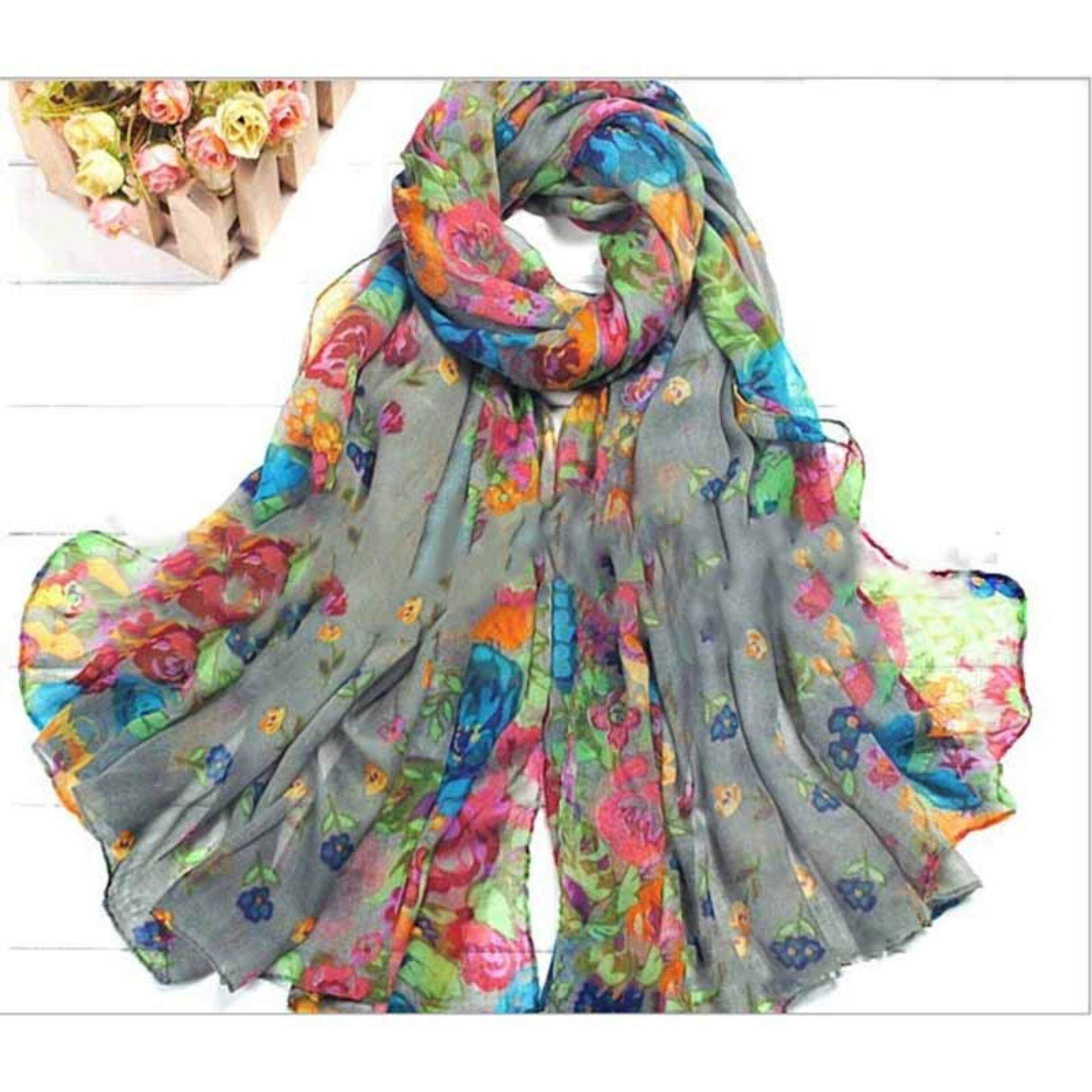 Fashionable Women Ladies Floral Flower Scarf Shawl Stole Wrap Scarves - Intl By Family Flower.