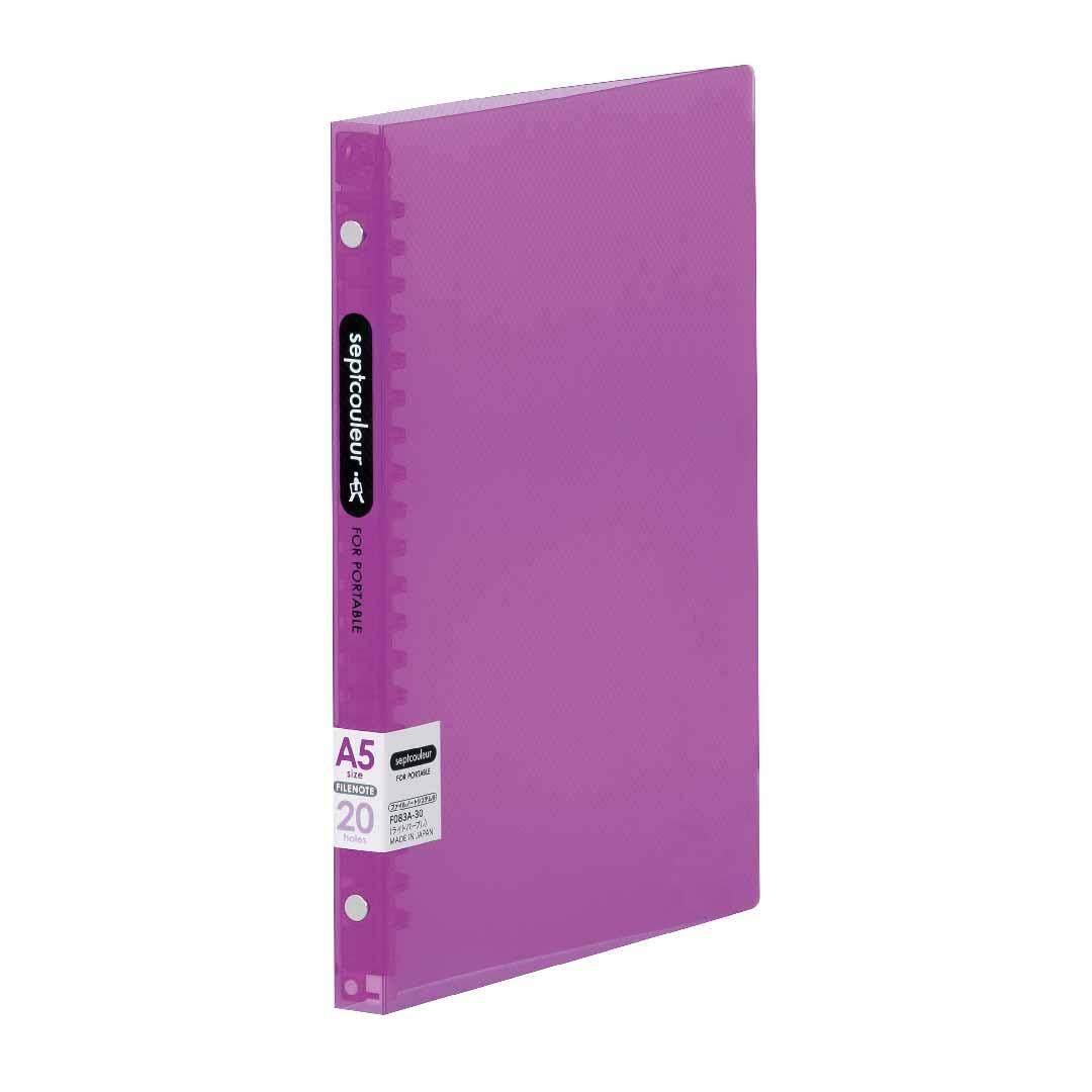 SEPT COULEUR A5, 20 Holes, 60 Sheets, 15 Spine Width -Light Purple
