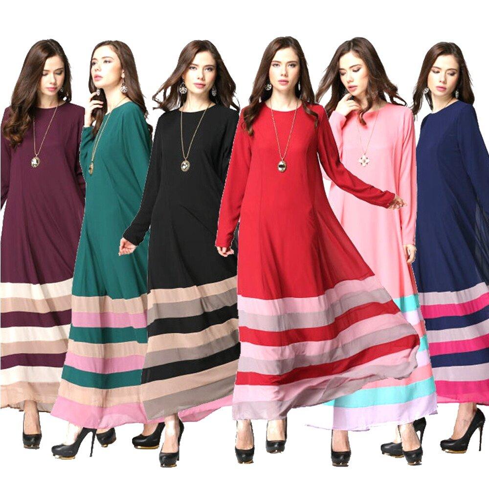 93d44137b2 Jubah Arab Muslim women's Long-sleeved Dress Skirt Islamic Clothing Rainbow  Color Striped Dress without Hijab Black