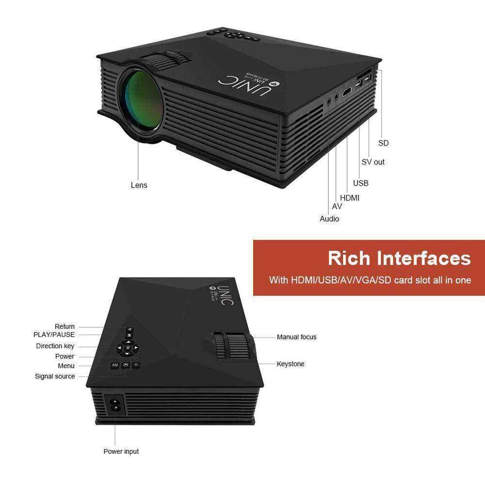 Fanestiy Black UNIC UC46 Full HD LED Video Home Cinema Projector with WIFI Ready