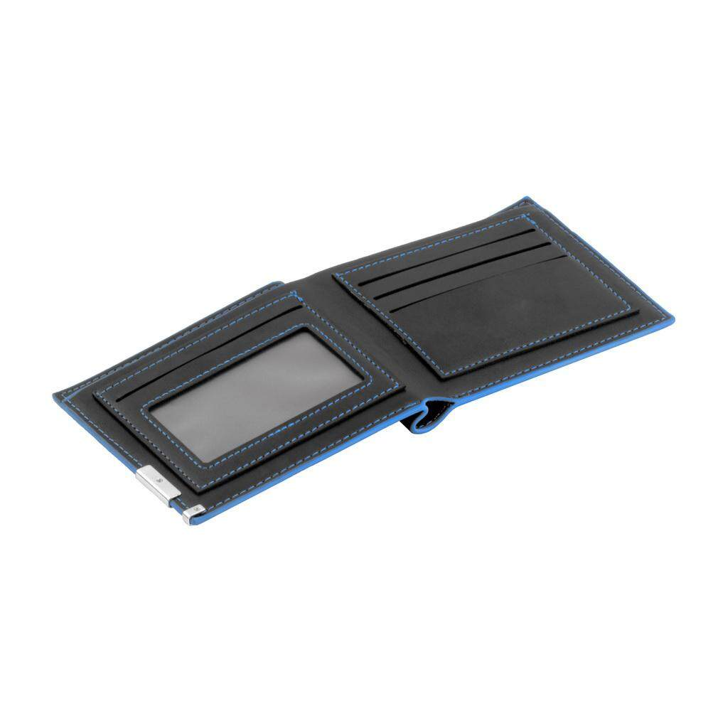 Laki-laki yang modis kulit dingin dompet kartu hitam kopling dompet Bifold uang Cli - 4