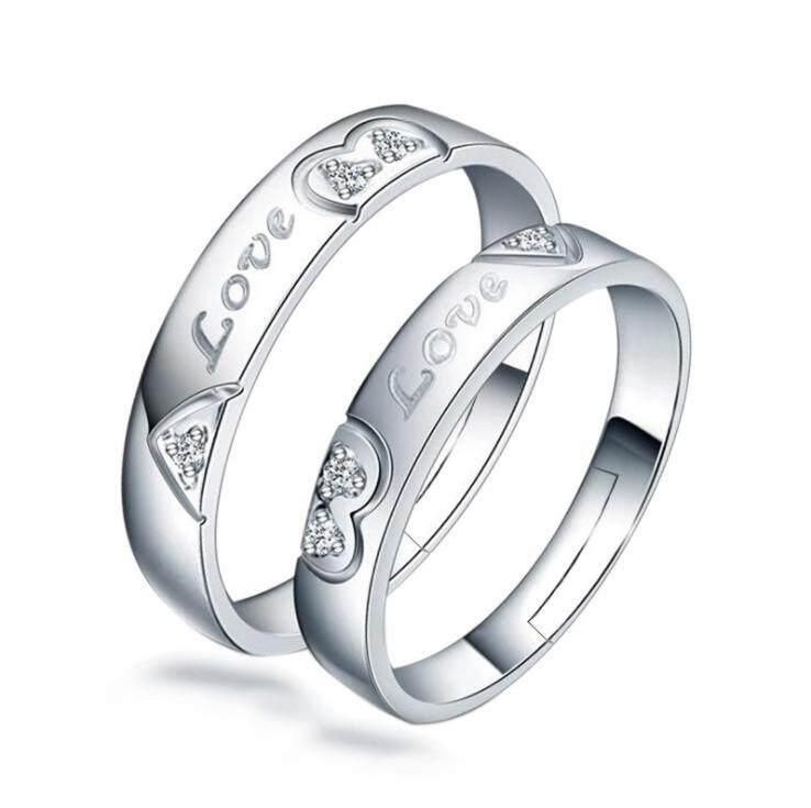 Fancyqube Putih Gold Menara Eiffel & Jantung Bentuk Dua Gaya CZ Pasangan Cincin untuk Wanita Pria Cinta Pernikahan Pertunangan Pesona perhiasan-Internasional