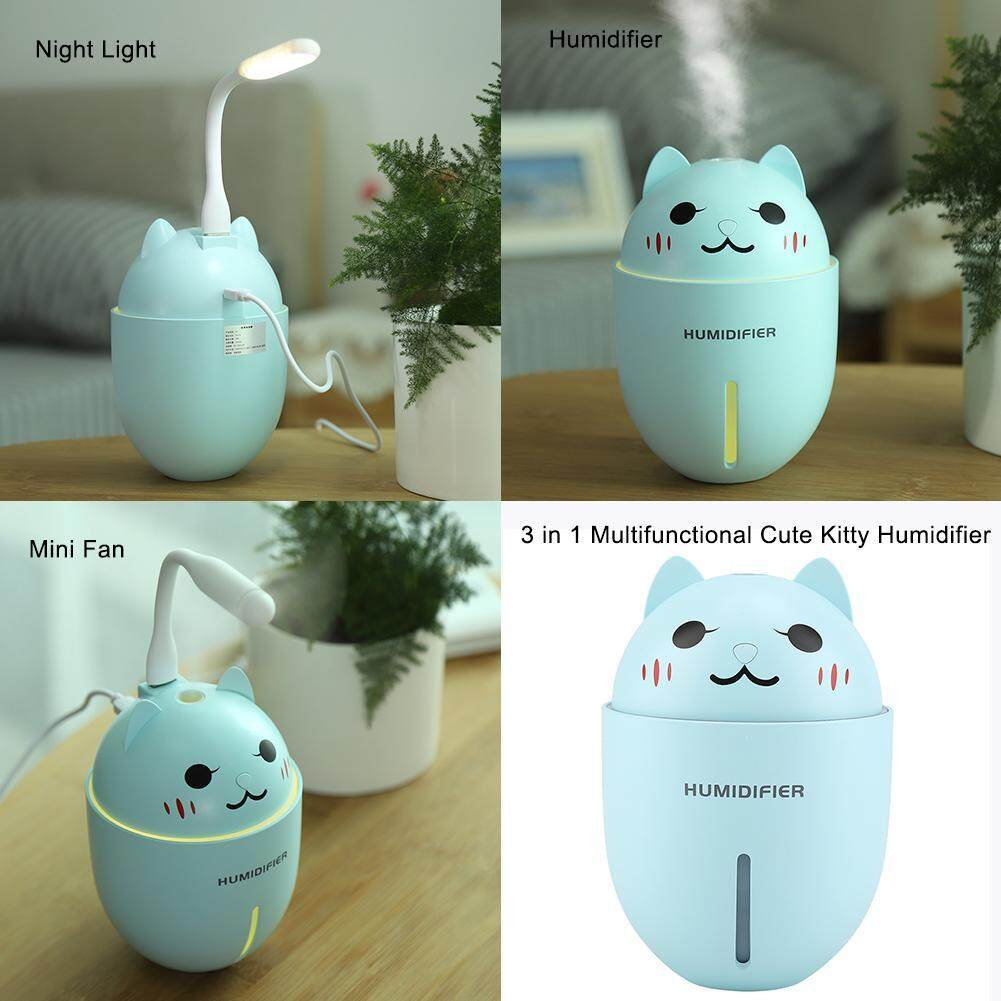 Bảng giá 【Lowest giá qua Internet】Multifunctional Kitty hình Siêu Âm Thanh Máy Phun Sương Tạo Độ Ẩm Đèn Ngủ Máy Lọc Quạt Mini USB Cáp