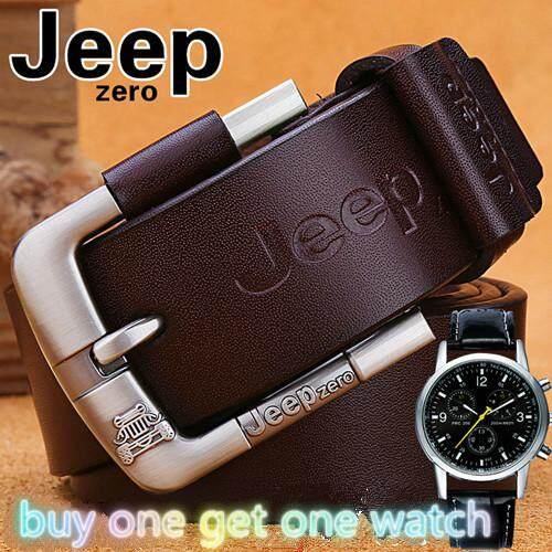 【ซื้อหนึ่งแถมหนึ่งนาฬิกา】 Jeepzero เข็มขัดหนังแท้สำหรับผู้ชายคาวบอยสายรัดหรูหรายี่ห้อชายวินเทจกางเกงยีนส์แฟนซีออกแบบเข็มขัดผู้ชายที่มีคุณภาพสูง By Goodhopes.