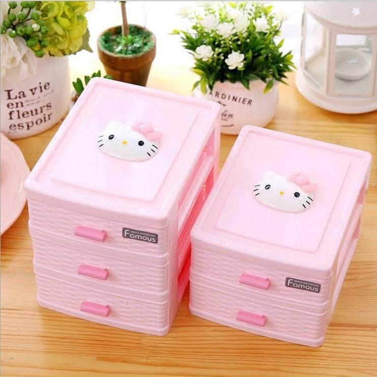... HELLO KITTY kotak penyimpanan untuk meja kerja kotak perhiasan tiga lapis Model Laci Plastik Kosmetik Puing ...