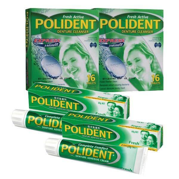 Polident Denture Cleanser 16's X 2 + Denture Adhesive Cream 60g X 2 tubes