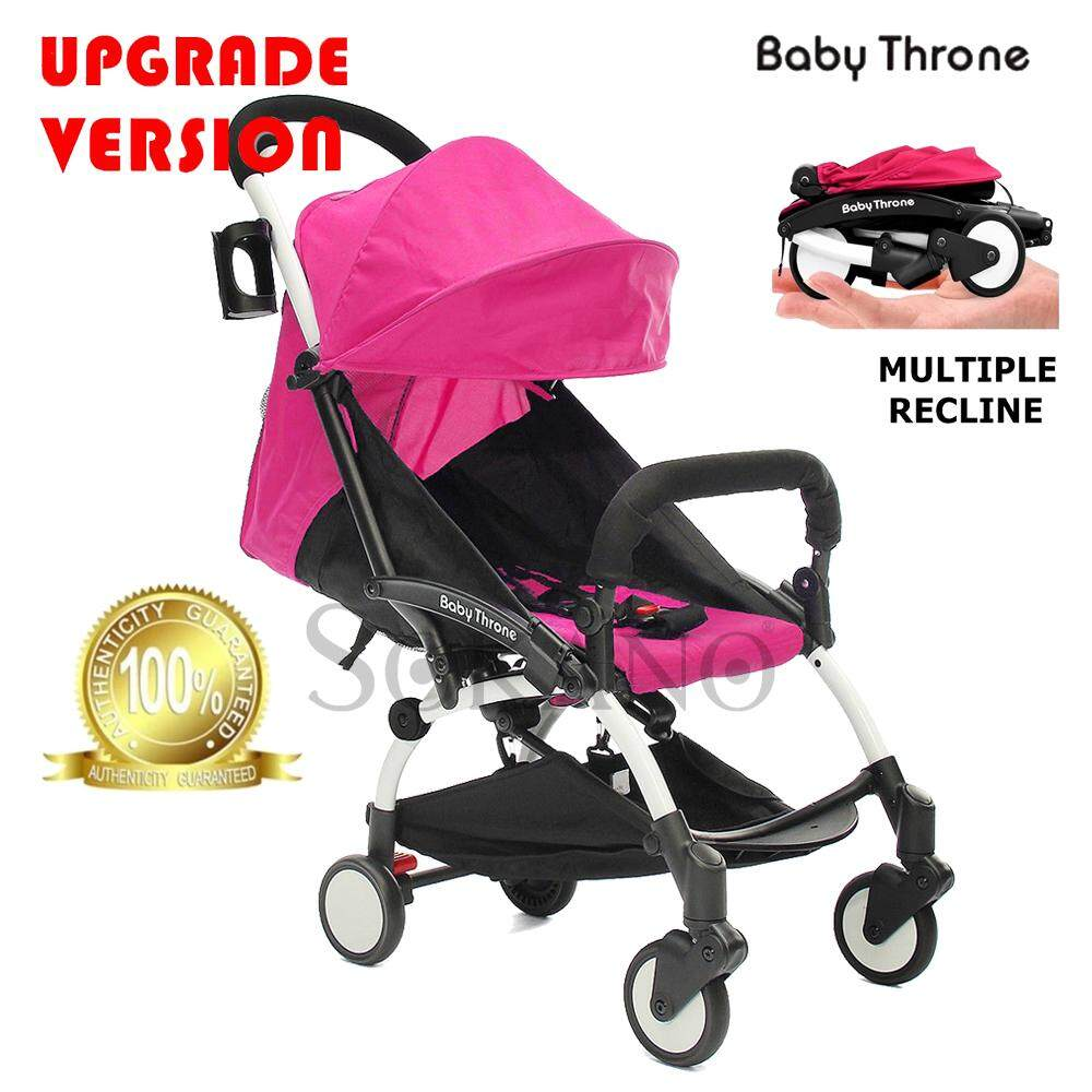 (RAYA 2019) (Upgrade Version) Baby Throne Premium Lightweight Multiple Recline Super Compact Foldable Stroller (100% Authentic)- Pink