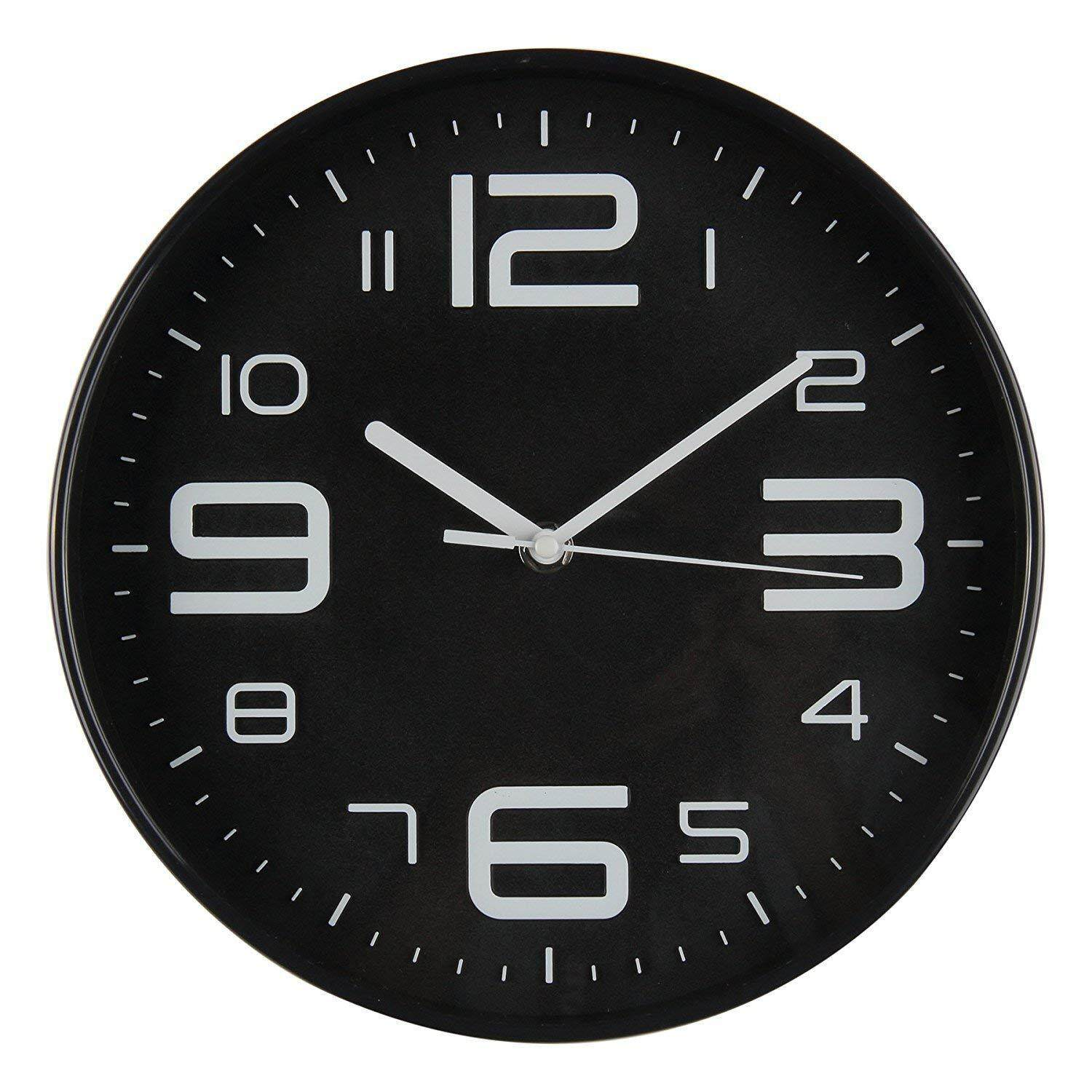 Indoor Big 3D Number Silent Wall Clock Quiet Sweep Movement Wall Clocks Battery Operated 10 Inch Black Profile Free Shipping