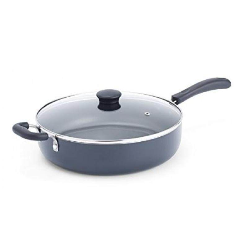 T-fal Bpecialty Nonstick Dishwasher Safe Oven Safe Jumbo Cooker Saute Pan with Glass Lid Cookware, 5-Quart, Black - intl Singapore