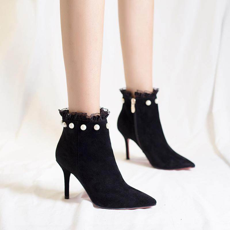 Fashion Women Shoes Pointed Boots Suede Ankle Boots High Heels Shoes Black By Lucky More Store.