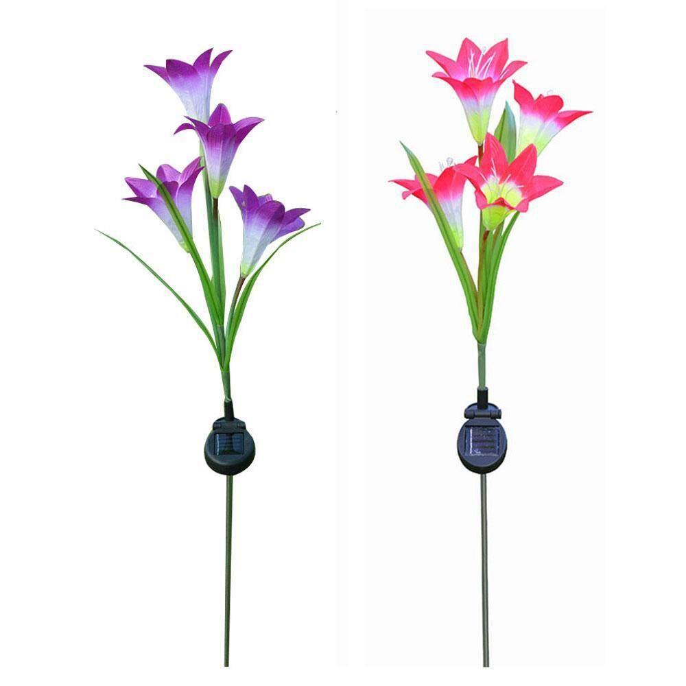 niceEshop Solar Lily Flower Stake Light LED Lantern Decorative Outdoor Lawn Garden Lamp(4 Heads Pink)