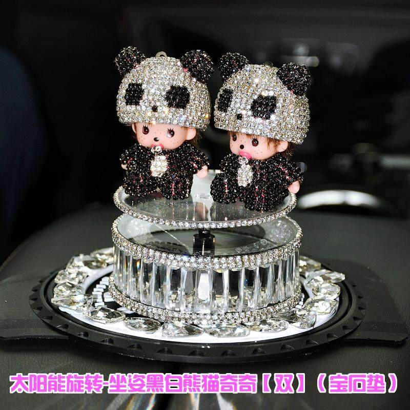 Monchchy car decoration cute cartoon car interior decorations car perfume seat ladies solar rotation(Rotating