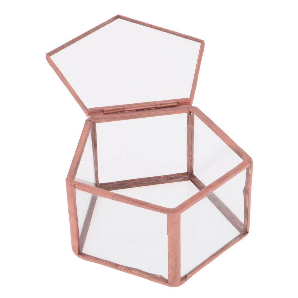 GuangquanStrade Wedding Faceted Glass Geometric Terrarium Jewelry Ring Box Tabletop Planter