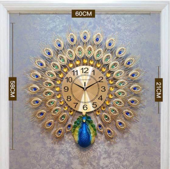 Peacock Decoration Wall Clock Living Room Creative Watches Home Mute Luminous Electronic Quartz Bells 63*63CM