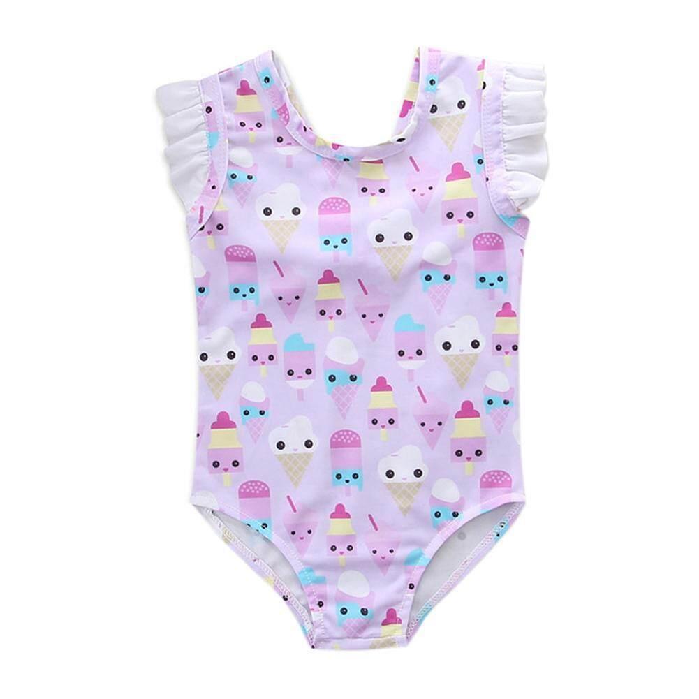 Gadis Es Krim Lucu Cetak Manis Jumpsuit Tanpa Lengan One-Piece Swimsuit (Merah Muda)-1-2yrs-Intl