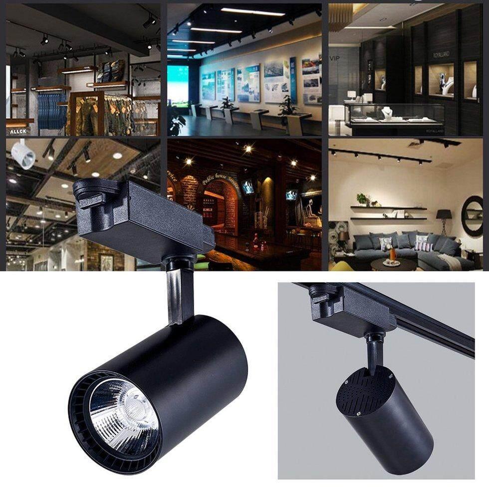 GOFT COB LED Track Light Clothes Shop Ceiling Lamp Open Mounted Rail Spot Light Black Shell & warm light warm light