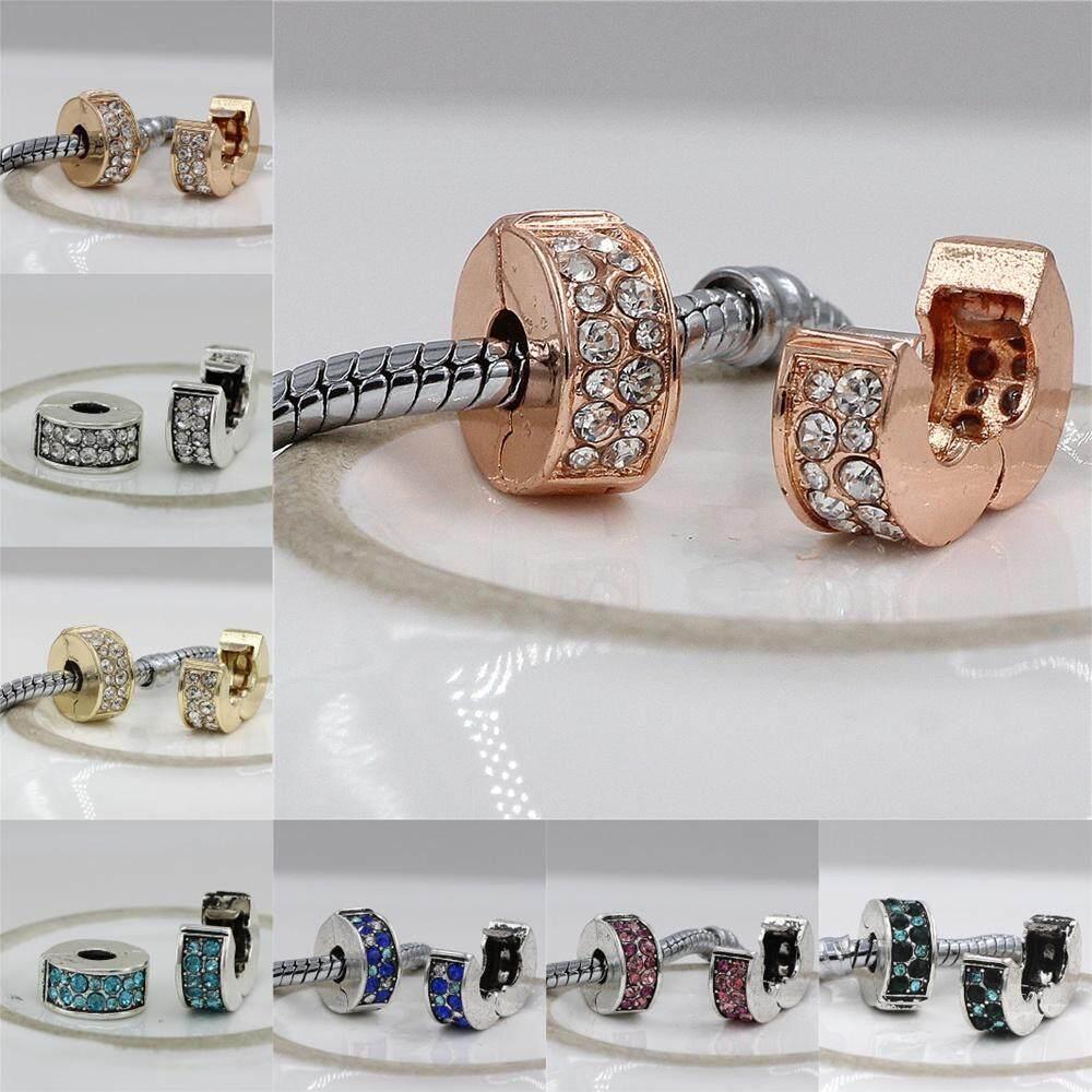 High quality 11 kinds of color Fits DIY pan Charms Bracelet Safety Beads  Clip Stopper Crystal 59da21ddefc3