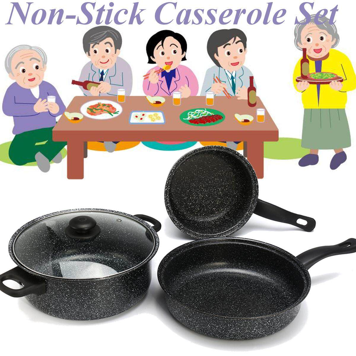 Non-Stick Casserole Insulated Saucepan W/ Lid Induction Stock Pot Cookware By Glimmer.
