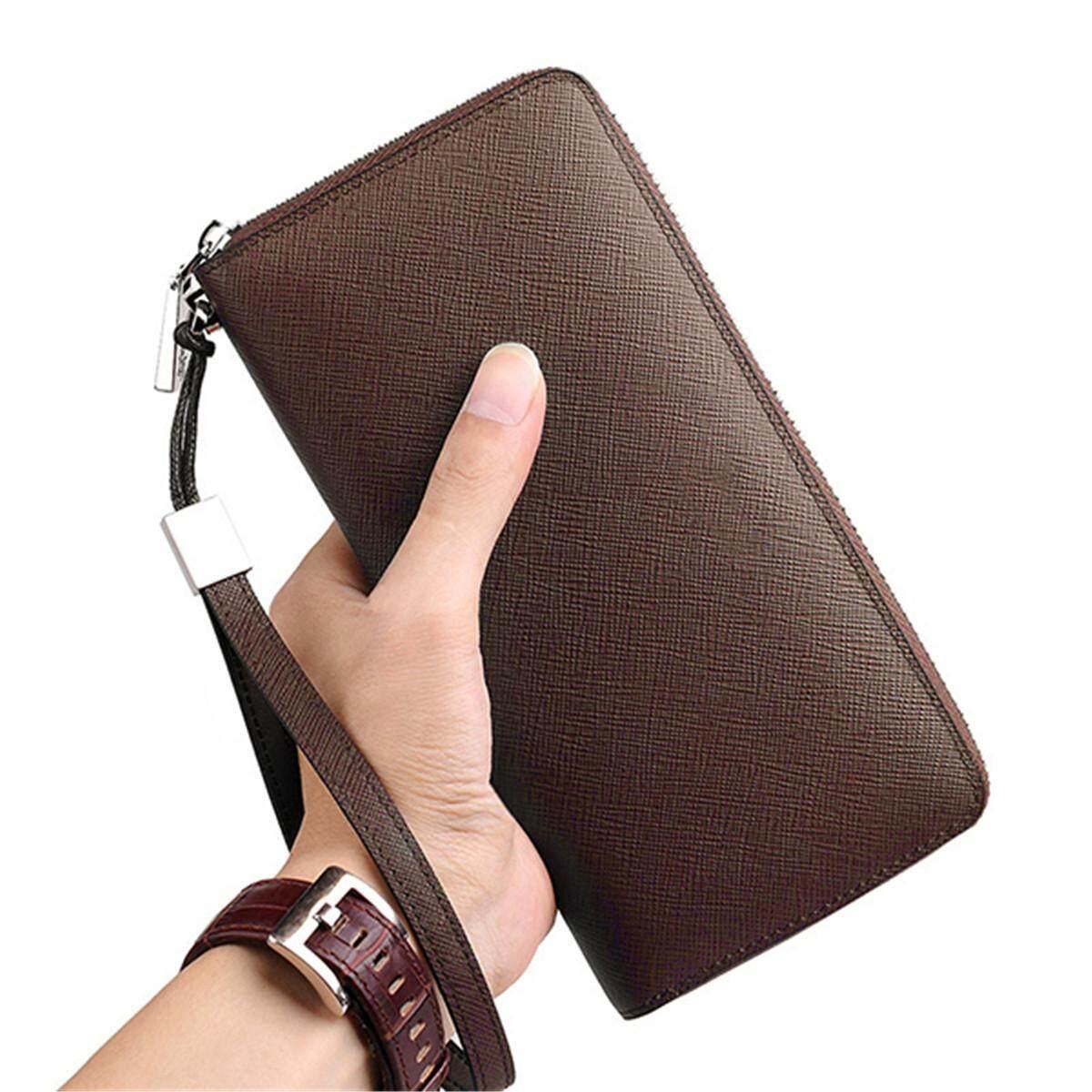 "Men Women RFID Genuine Leather 6"" Phone Bag 35 Slots Card Holder Wallet Purse"