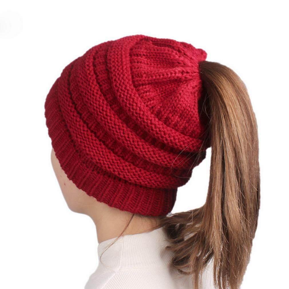 1612e60207fa4c COMVIP Knit Stretch Chunky Winter Warm Bun Ponytail Beanie for Women Black  - intl