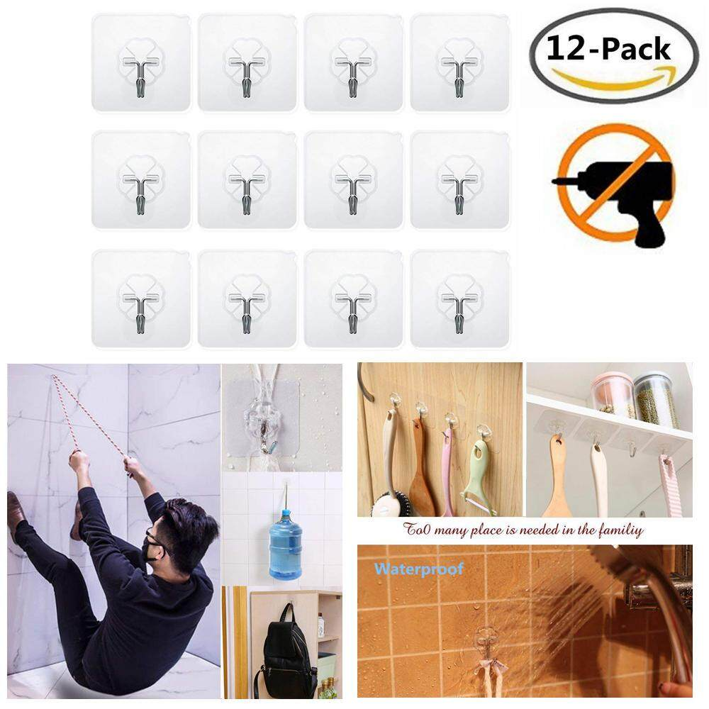 (12 pack)  High quality Adhesive Hooks Wall Hooks Heavy Duty Stick on Strong Waterproof Ceiling Hangers Nail Free 10kg Max Rotarable Hook Tip Hanging Hooks for Kitchen Bathroom Door Hanger