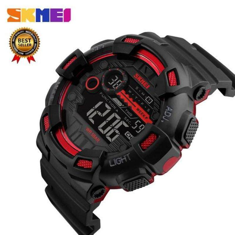 (100% Genuine) SKMEI 1243 Mens Sports Watch 50 Meter Waterproof Backlight LED Digital Watch Chronograph Shock Double Watch Malaysia