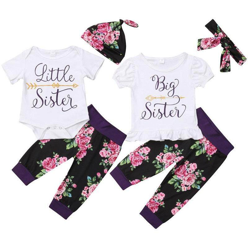 Big/Little Sister Matching Set Baby Girls Tops Romper Pants Outfits Clothes (Present Hat