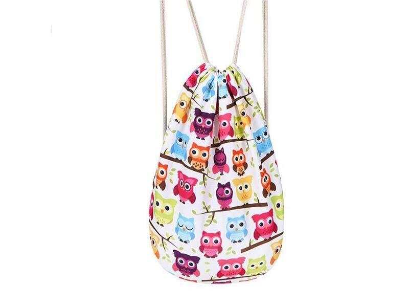 Girls Rucksack Printing Drawstring Shoulder Tutorial Bag Owl Casual Backpack - intl