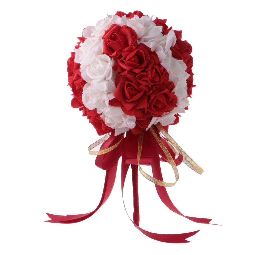 GuangquanStrade Wedding Bridal Artificial Foam Roses Flower Bouquet Ribbon red