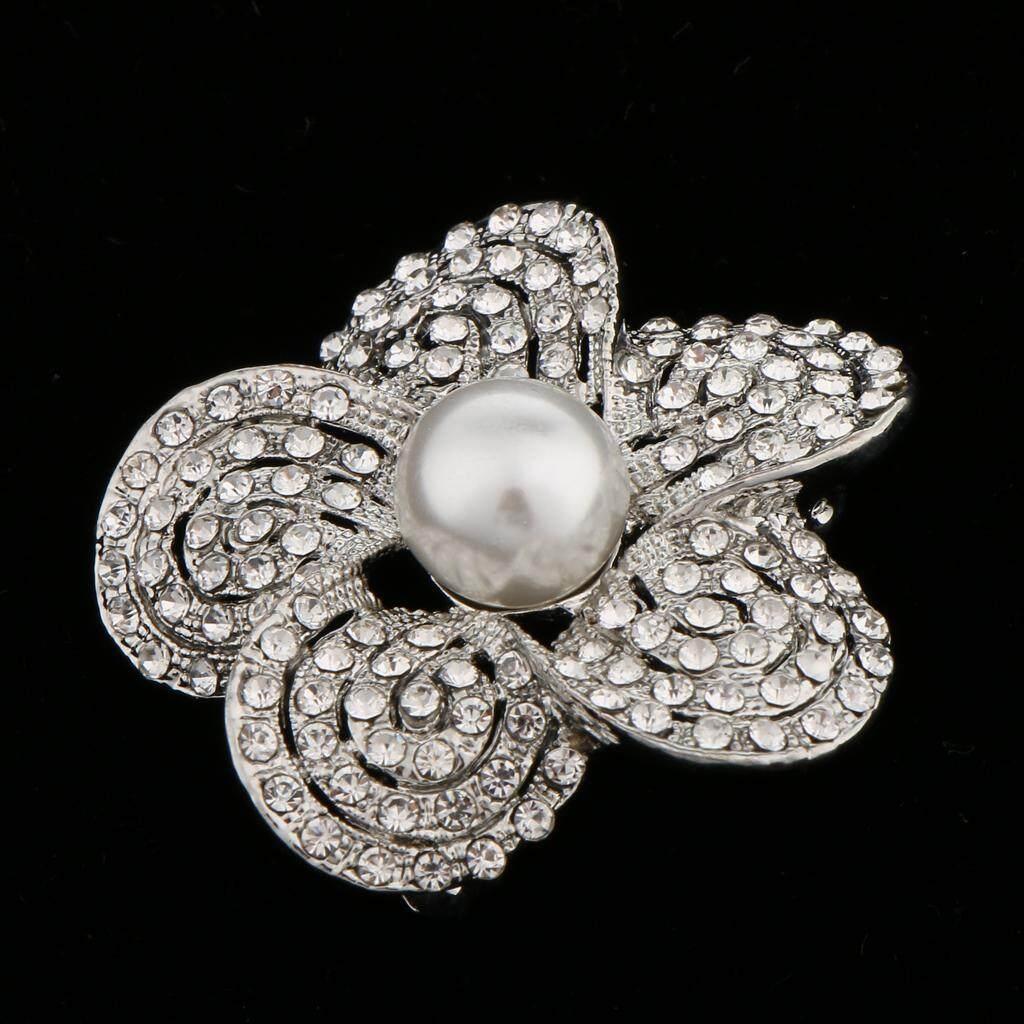 GuangquanStrade Fashion Wedding Bridal Rhinestone Crystal Flower Bouquet Brooch Pin Clear