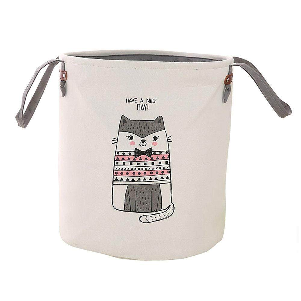 senmei Foldable Round Home Organizer Cotton Storage Baskets Bin For Baby Nursery,Toys,Laundry,Baby Clothing(Pink Cat Color) - intl