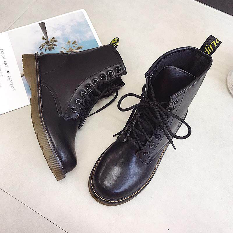 Martin Boots women 2018 Autumn New Style CHIC England Students Lace-up Thick Bottomed Boots