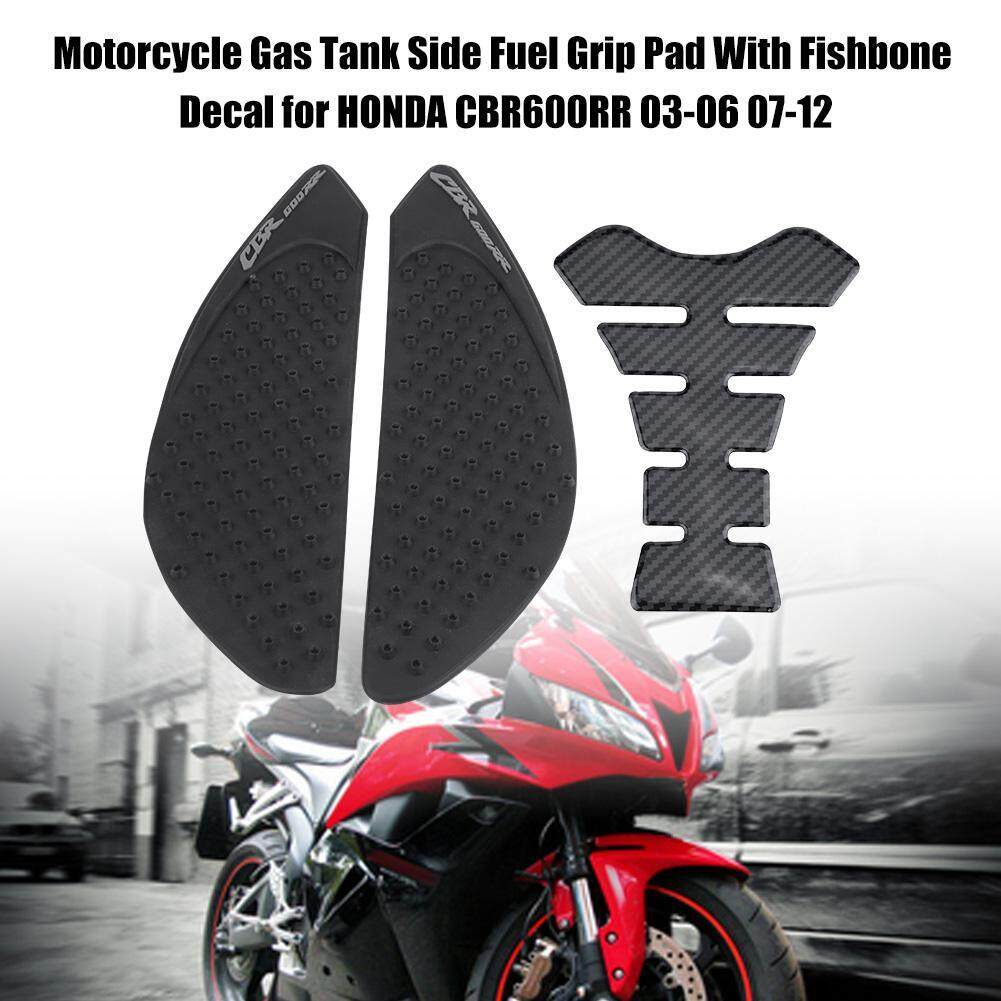Motorcycle Gas Tank Side Fuel Grip Pad With Fishbone Decal for HONDA CBR600RR 07-12