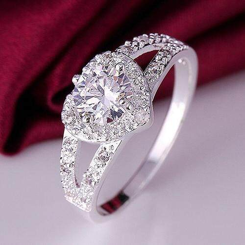 Bluelans® Women 925 Sterling Silver Crystal Love Heart Shaped Ring Bridal Wedding Jewelry