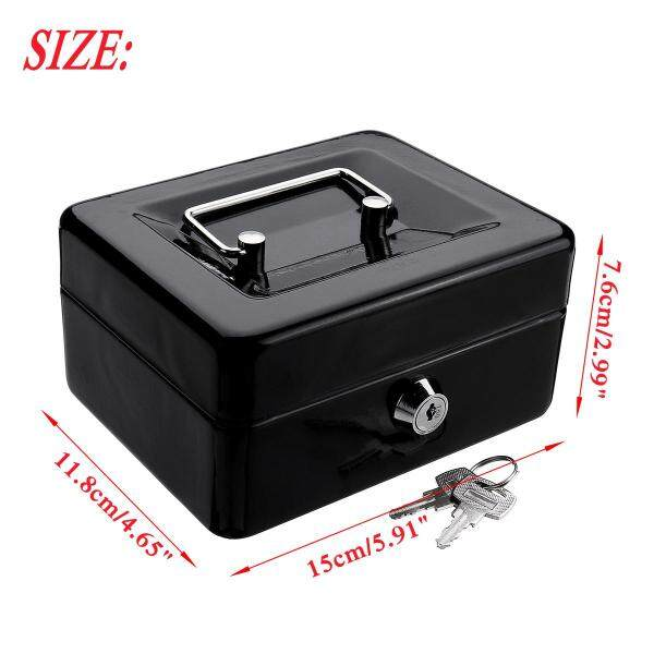 Removable Tray+Stainless Steel Mini Portable Sturdy Money Cash Box Coin Petty