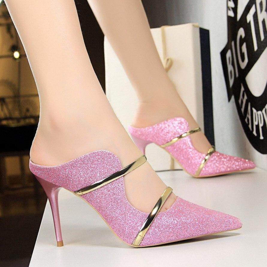 BIGTREEG 1788-1 Europe United States Fashion Sexy Nightclub High Heels Shoes  Sequin Thin Heeled ba24f4f20539