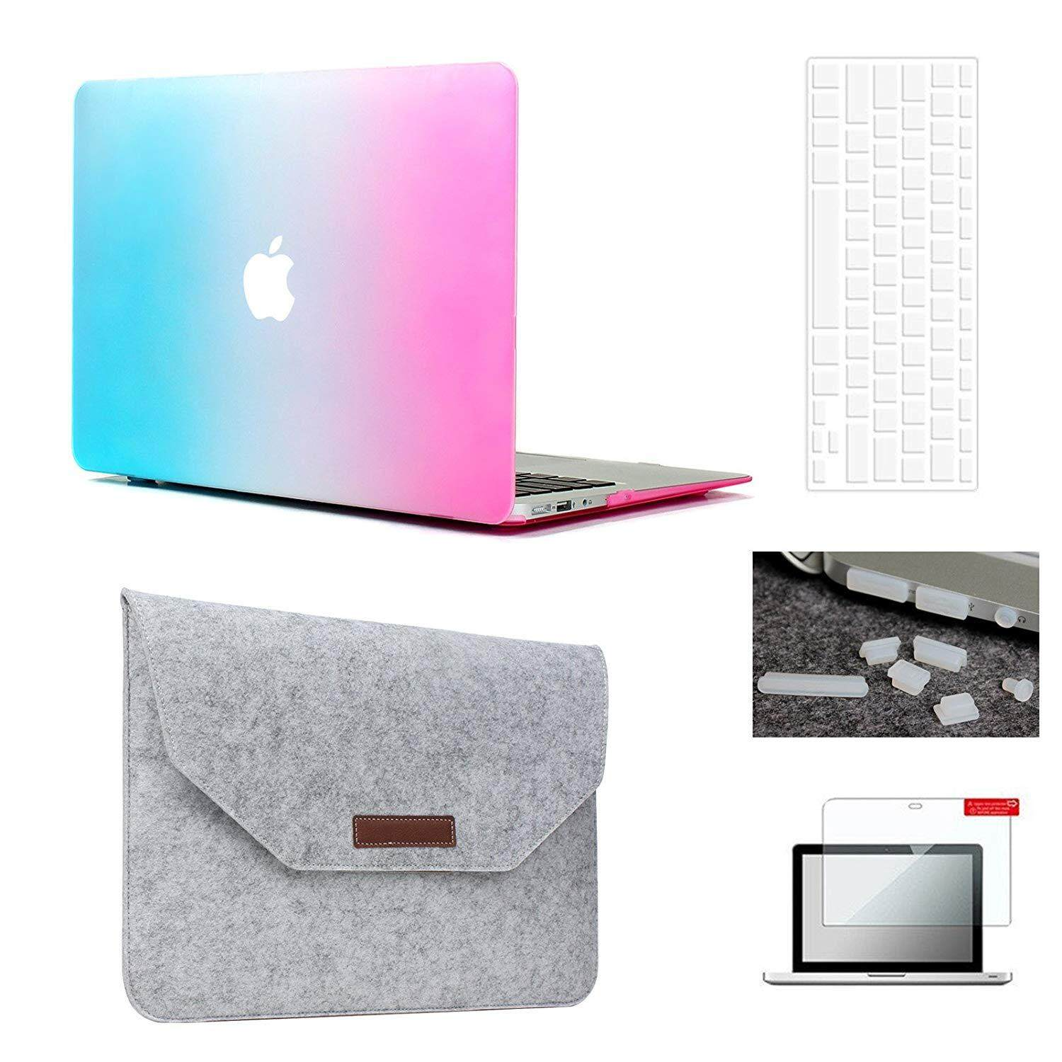 MacBook Air 13 Case & Sleeve[5 in 1 Bundle], Plastic Hardshell Case Bundle with Felt Sleeve, Screen Protector, Keyboard Cover & Dust Plug for MacBook Air 13-inch A1369/A1466(Release 2018/ 2017/ 2016 / 2015 / 2014 / 2013 / 2012 (NEWEST VERSION))