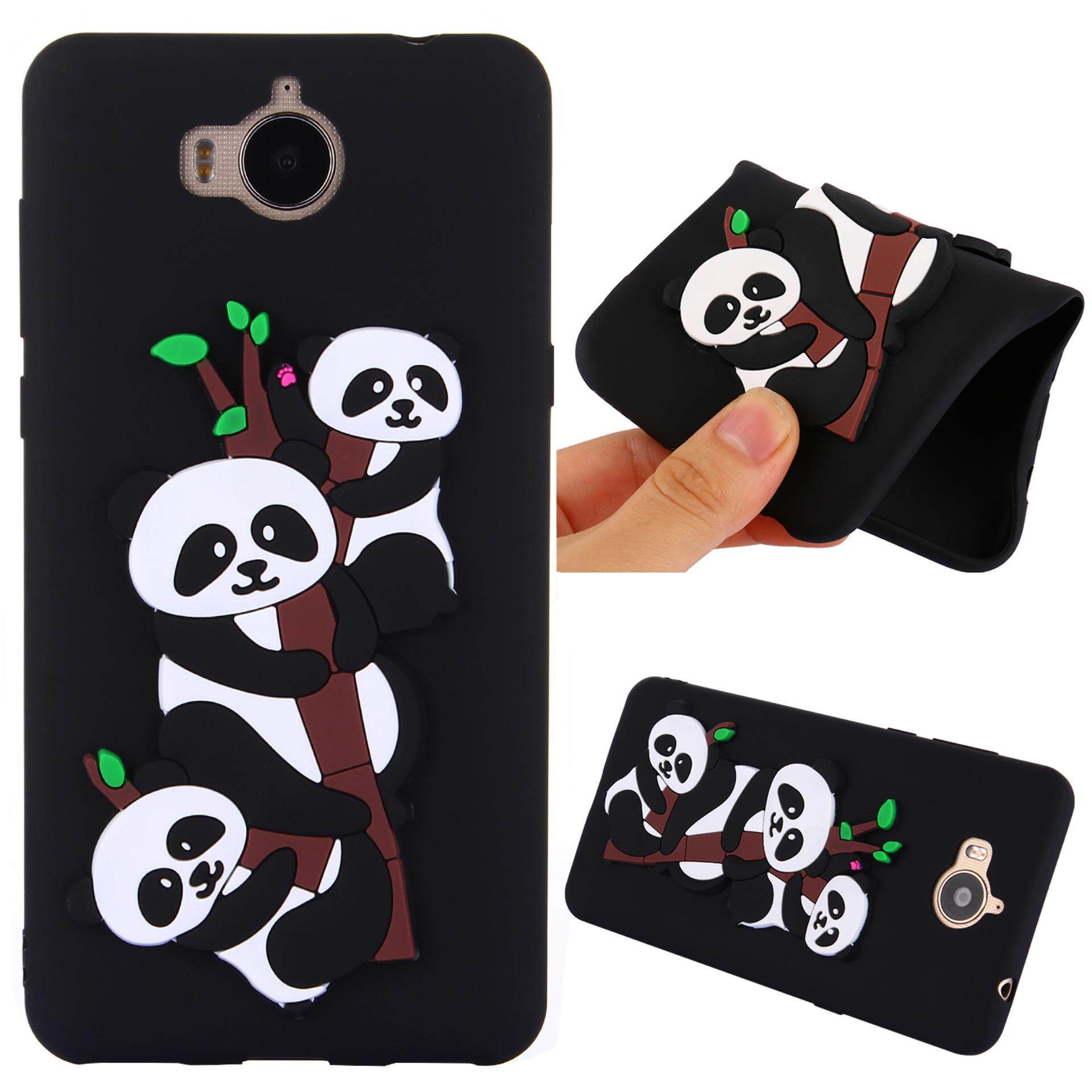 For Huawei Y5 2017 Case 3D Cute Pandas Pattern Rubber Soft TPU Back Cover - intl