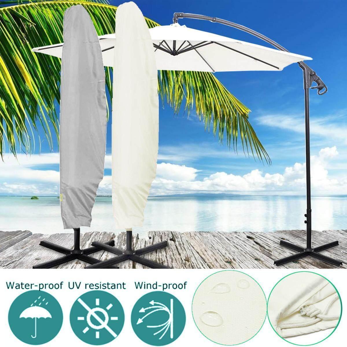 2 Color Outdoor Banana Umbrella Garden Patio Cantilever Parasol Waterproof Cover