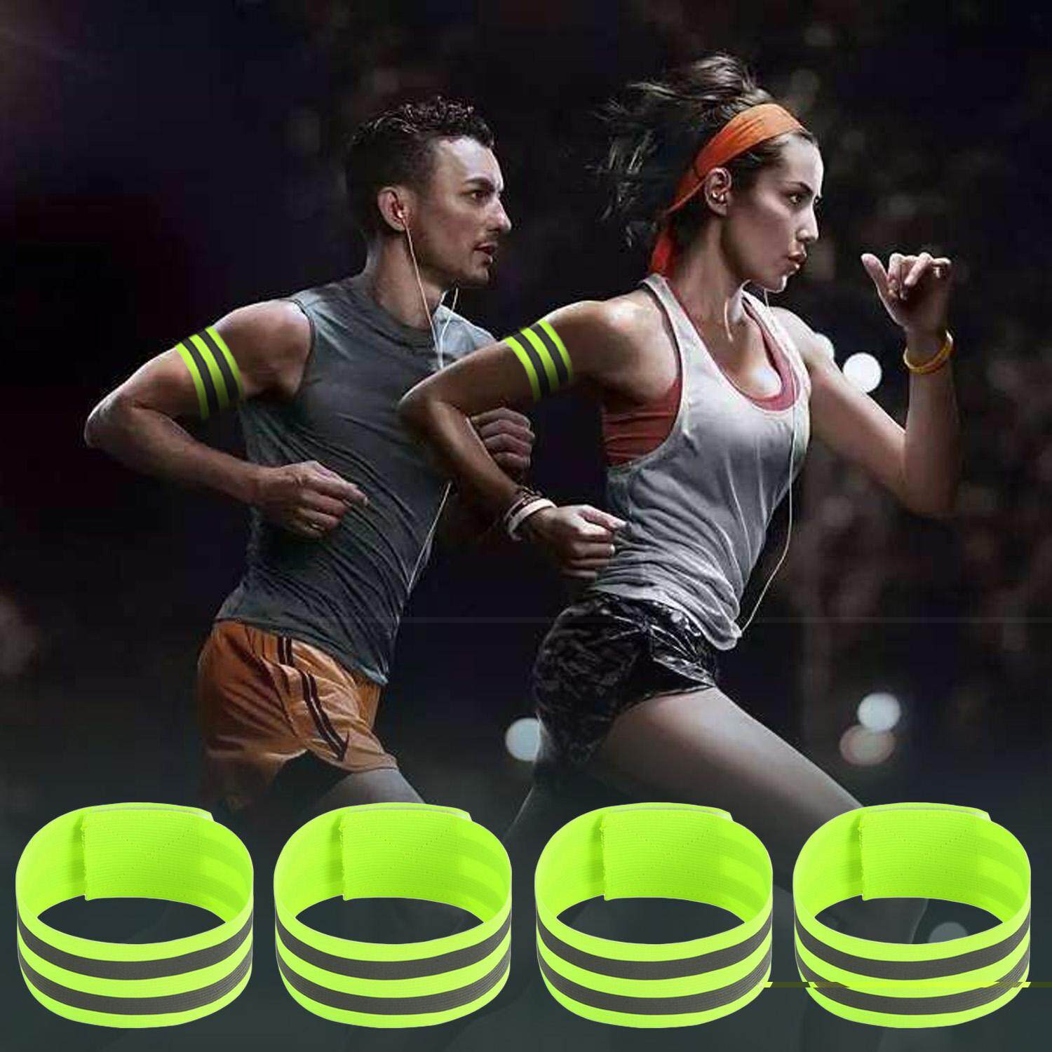 4pcs Adjustable High Visibility Reflective Safety Bands Belt For Wrist Arm Ankle Leg Running Jogging Cycling Walking Wandering Green By Duha.