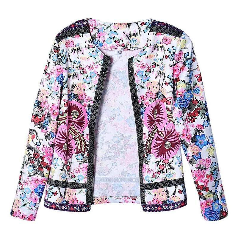 Women Ethnic Printed Floral Short Jacket Long Sleeve Outwear (XL (EU40)) d61741558e