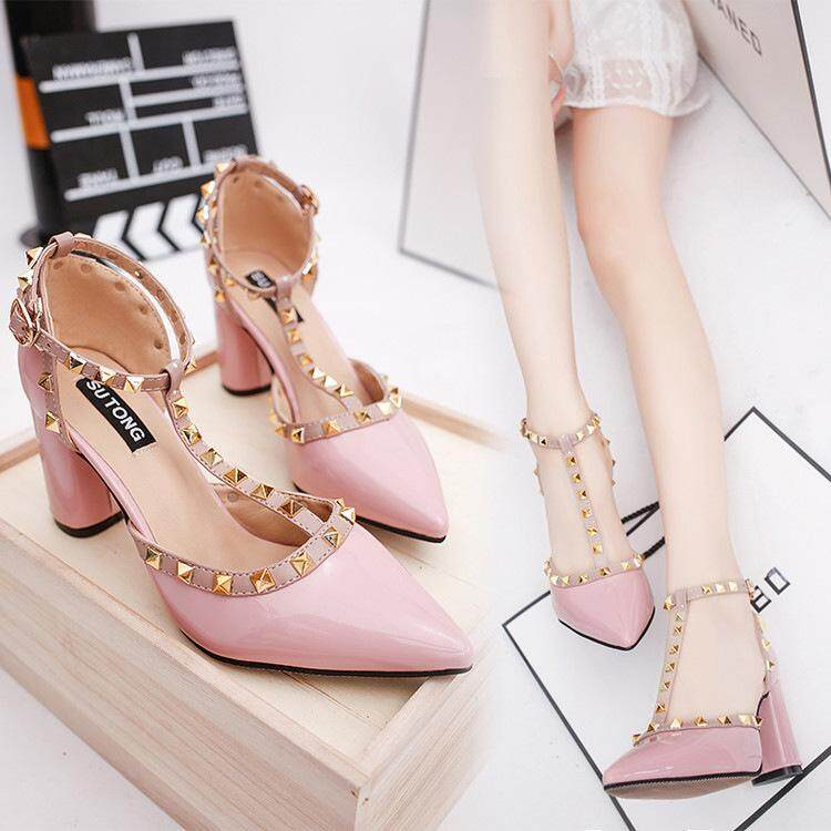 Detail Gambar Women s Pointed Toe Shoes Female Pointed Rivets Buckle Pumps  Newest 6cb164a4a3