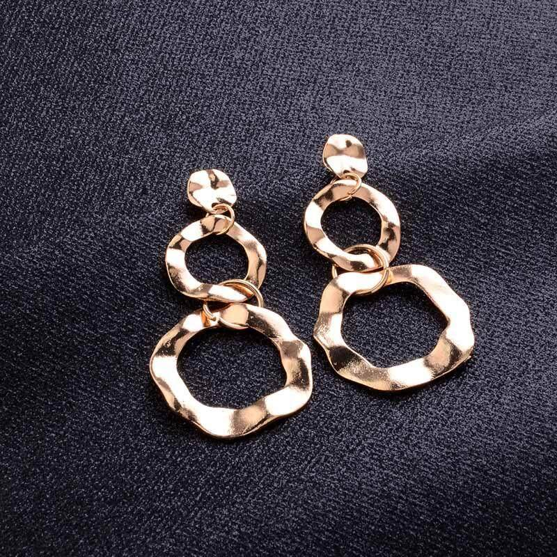 1 Pair Women Irregular Double Circular Ring Hollow Earrings Exaggerated Stud Earrings Jewelry Gift - intl