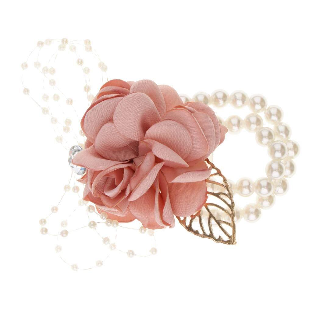GuangquanStrade Artificial Bride Groom Silk Wrist Corsage Wedding Hand Flower Champagne Pink