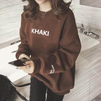 Pencarian Termurah Musim Semi dan Musim Gugur Gaya Korea perempuan Tambah beludru Kaos Sweater hoodie model setengah panjang longgar netral murid pada ...