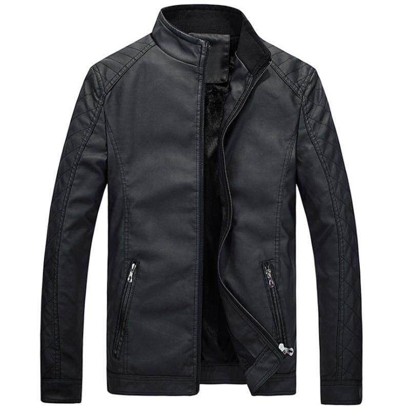 Rd Men Slim Standing Collar Pu Jacket Outdoor Casual Thicken Zipper Coat Tops By Redcolourful.